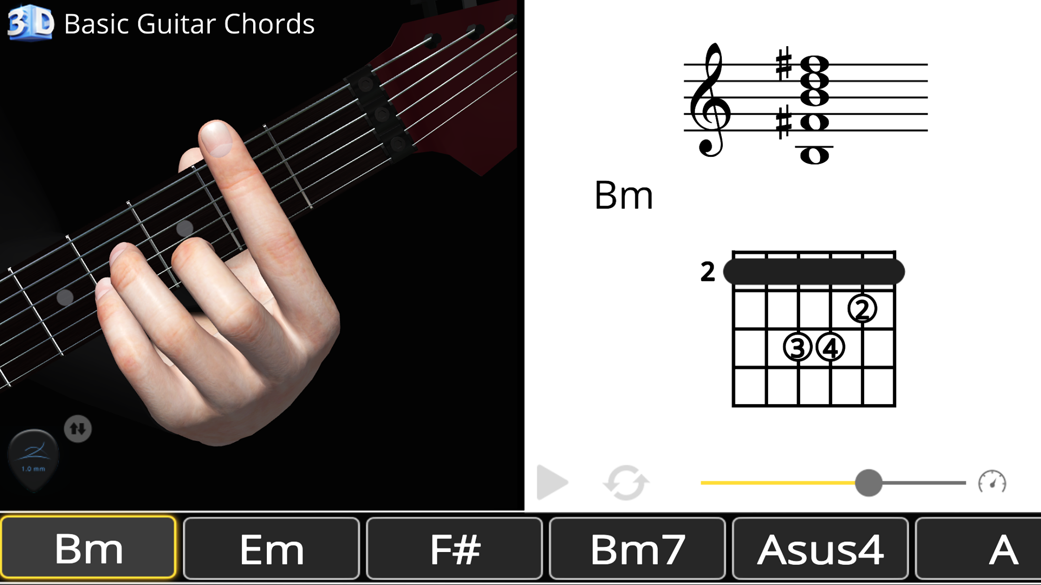 Basic Guitar Chords 3D Barre Chords