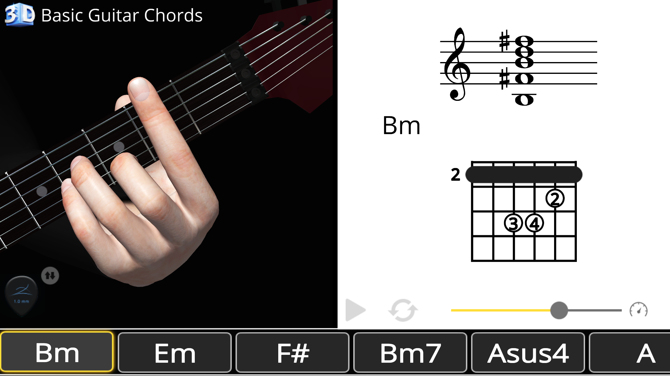 Guitar 3d Chords Bm Si Minor Polygonium