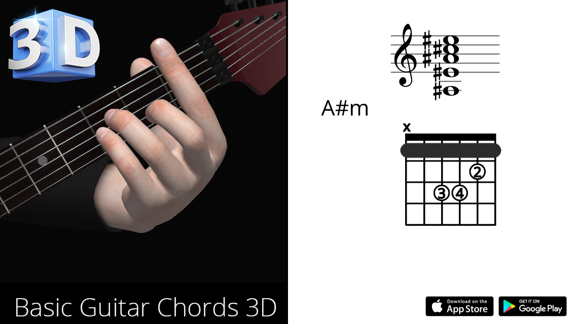 Guitar 3d Chords Am La Minor Polygonium