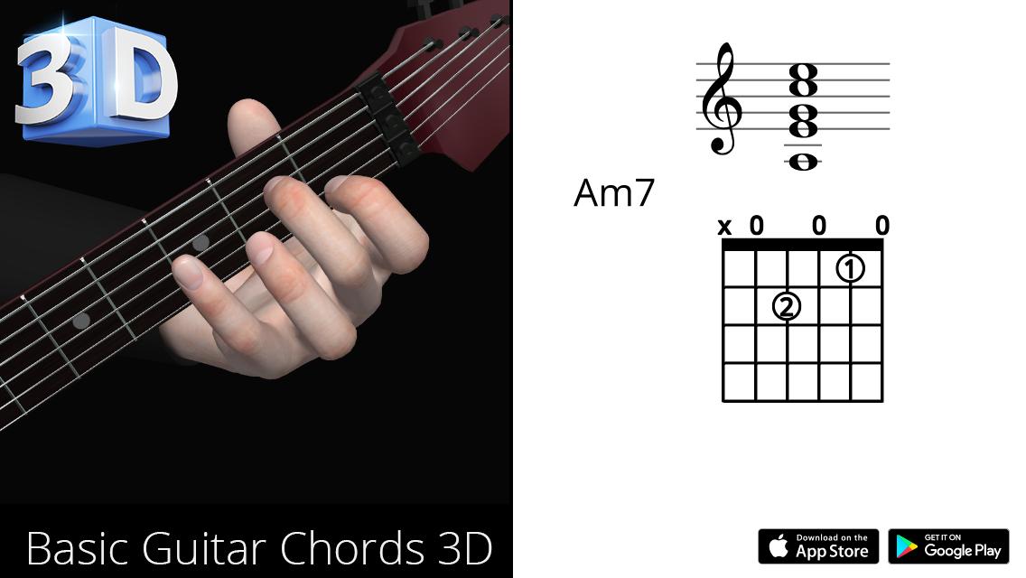Guitar 3d Chords Amin7 La Minor Seventh Polygonium