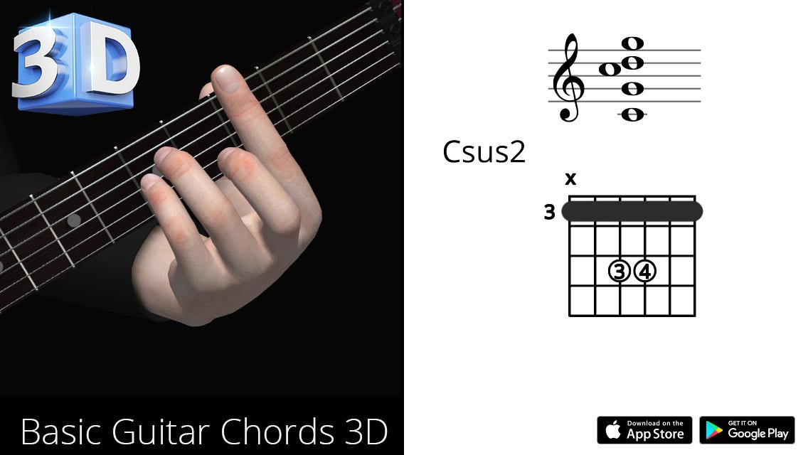 Guitar 3D Chords : Csus2 – Do Suspended Second – Polygonium