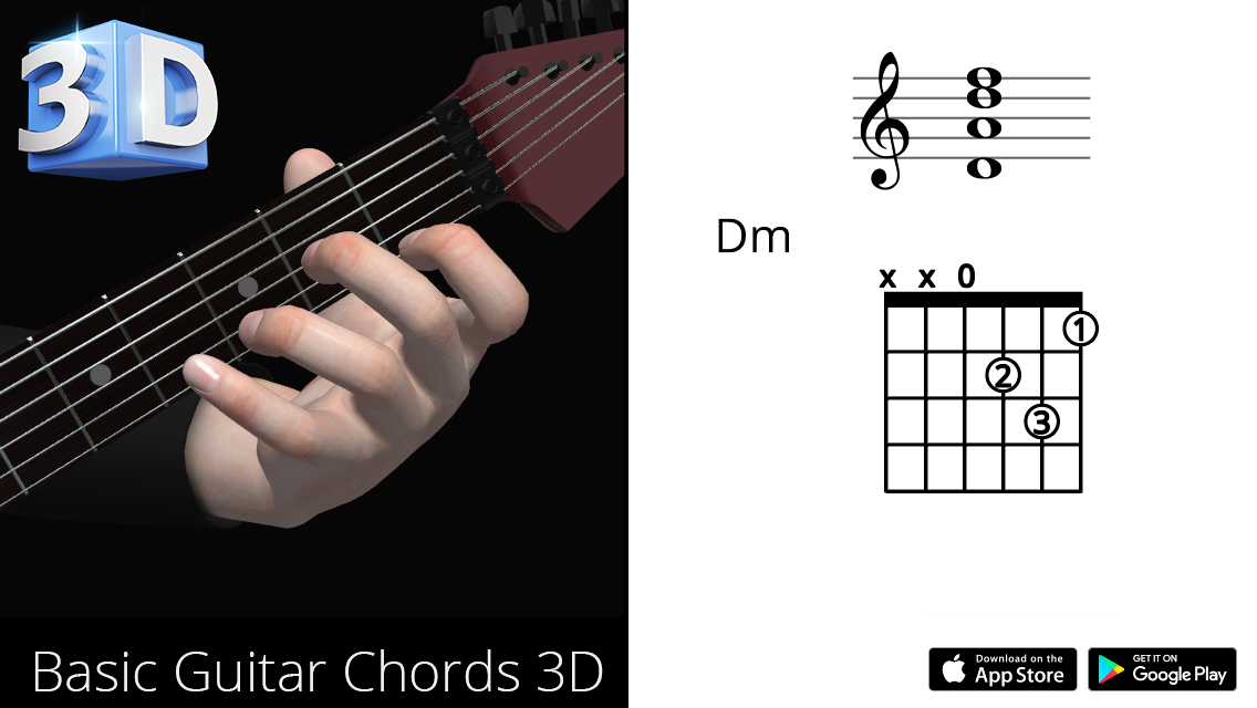 Guitar 3d Chords Dm Re Minor Polygonium