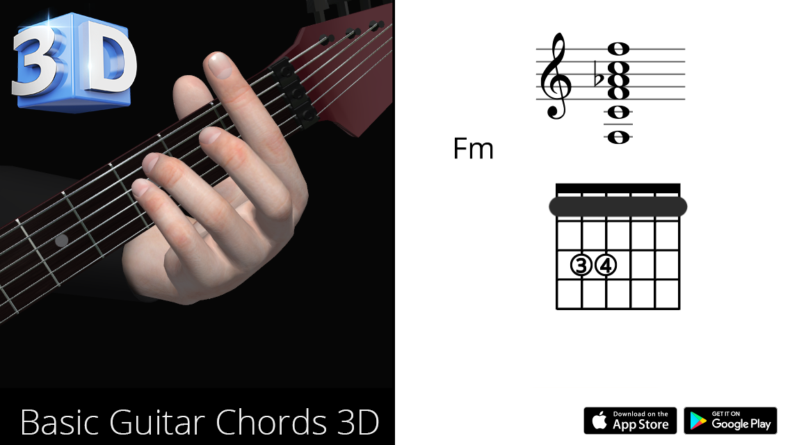 Guitar 3d Chords Fm Fa Minor Polygonium