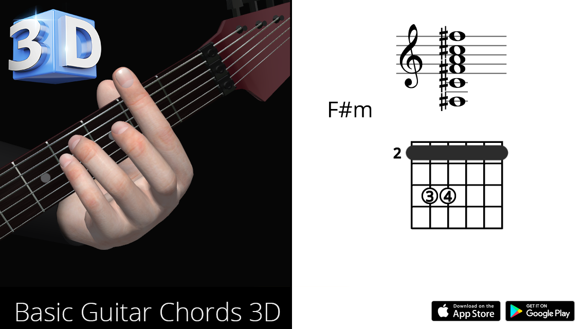 Guitar 3d Chords Fm F Minor Polygonium