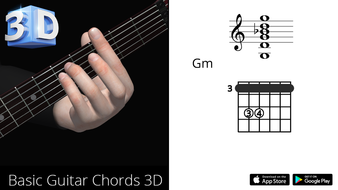 Guitar 3d Chords Gm Sol Minor Polygonium